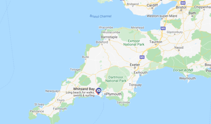 The Marine was on an exercise on Tregantle Beach in Cornwall when he got into difficulties (Picture: Google Maps)