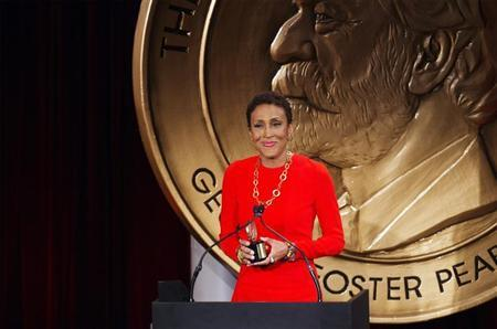 "Television host Robin Roberts speaks after being awarded a Peabody Award for her work in ""Robin's Journey"" in New York"