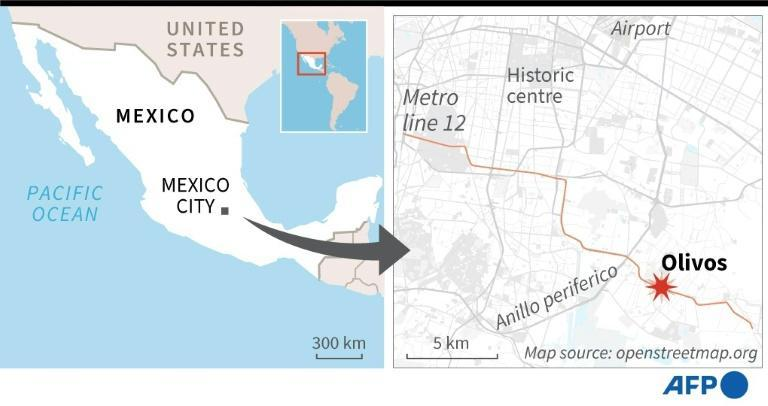 Map locating Mexico City, where a section of elevated metro tracks collapsed, causing deaths and injuries