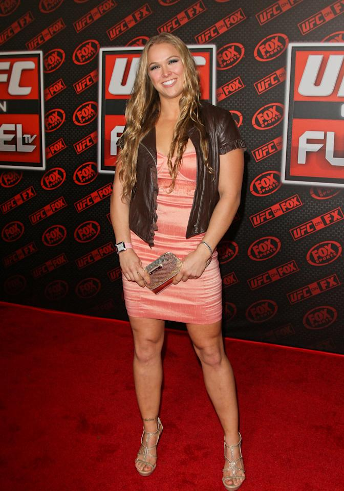 ANAHEIM, CA - NOVEMBER 12:  MMA Fighter Ronda Rousey arrives at the UFC on FOX: live Heavyweight Championship at Honda Center on November 12, 2011 in Anaheim, California.  (Photo by Paul Archuleta/FilmMagic)