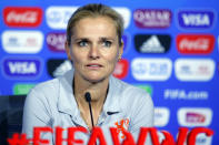 FILE - In this Saturday, July 6, 2019 file photo, Netherlands' head coach Sarina Wiegman attends a press conference at the Stade de Lyon, outside Lyon, France. England's soccer leadership has a couple of priorities for the women's teams. Most pressing is deciding on a coach for the Olympics next month and whether Phil Neville should lead the British team in Japan. Then there's an expectation that Neville's England successor, Sarina Wiegman, wins the European Championship in 2022 or the World Cup a year later. (AP Photo/Francois Mori, file)
