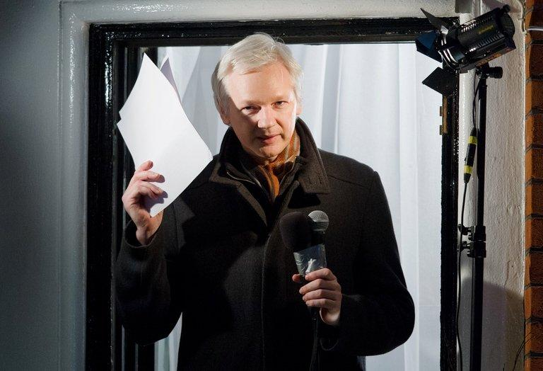 Wikileaks founder, Julian Assange, addresses media in London, on December 20, 2012