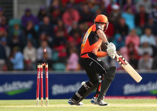 Shaun Marsh of the Scorchers is bowled by Doug Bollinger of the Hurricanes during the Big Bash League match between the Hobart Hurricanes and the Perth Scorchers at Blundstone Arena on January 1, 2013 in Hobart, Australia.  (Photo by Robert Cianflone/Getty Images)