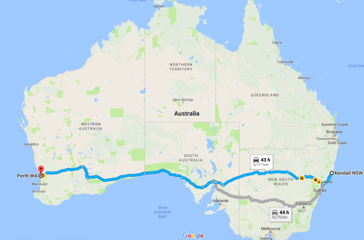 The boy's journey would've taken around 40 hours if he drove non-stop (Google)