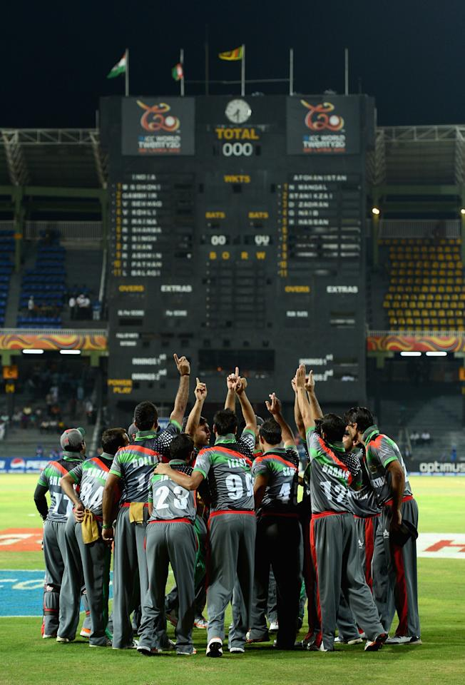 COLOMBO, SRI LANKA - SEPTEMBER 19:  The Afghanistan huddle ahead of the  ICC World Twenty20 2012: Group A match between India and Afghanistan at R. Premadasa Stadium on September 19, 2012 in Colombo, Sri Lanka.  (Photo by Gareth Copley/Getty Images,)