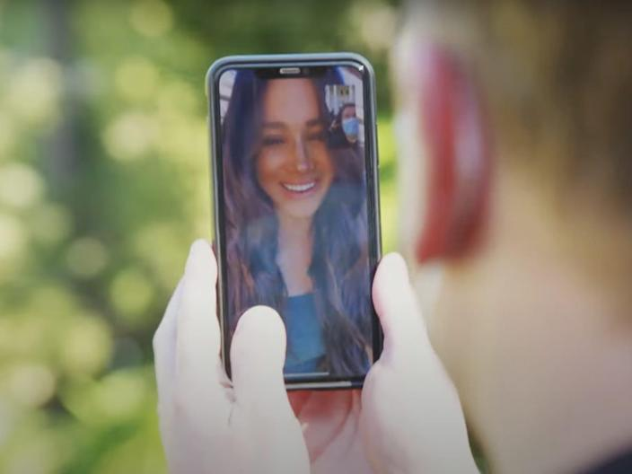 Meghan Markle on FaceTime to James Corden and Prince Harry.