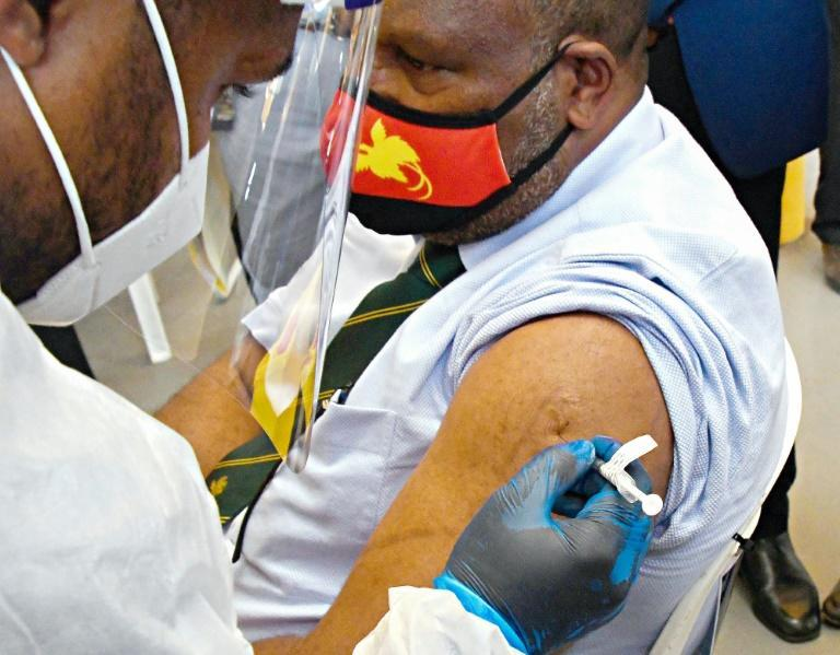Papua New Guinea's Prime Minister James Marape receives the AstraZeneca Covid-19 vaccine. Health minister Jelta Wong called disinformation spread on Facebook the 'biggest challenge' to efforts to curb the rampant spread of Covid-19 in PNG