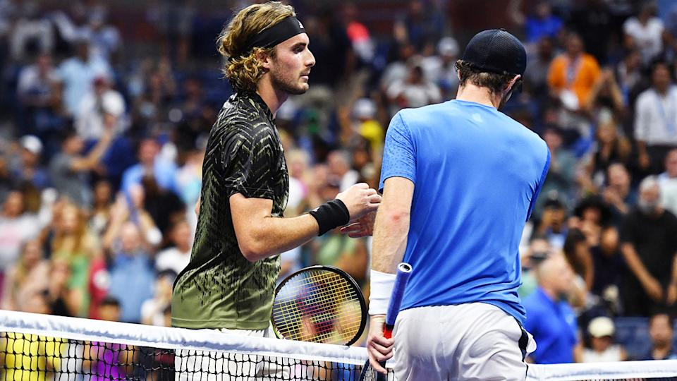 Andy Murray and Stefanos Tsitsipas, pictured here after their first-round clash at the US Open.