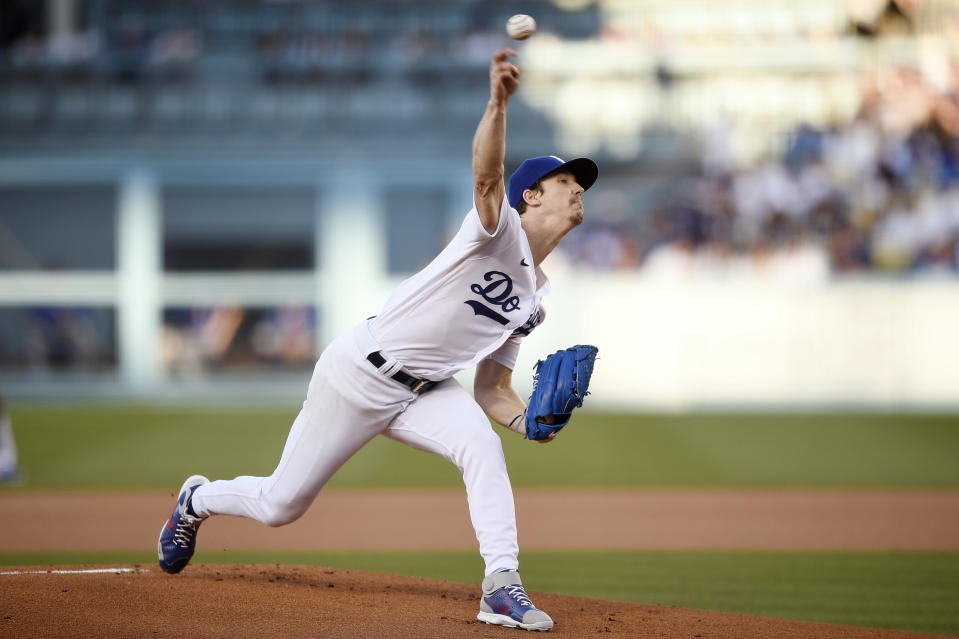 Los Angeles Dodgers starting pitcher Walker Buehler delivers a pitch during the first inning of a baseball game against the Chicago Cubs in Los Angeles, Thursday, June 24, 2021. (AP Photo/Kelvin Kuo)