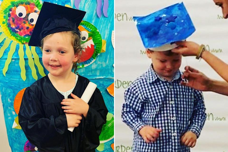 """<em>Today</em> co-host Savannah Guthrie shared special moments from her daughter Vale and son Charley's graduations on June 14, raving about their individual milestones with videos and photos of her kids in their cap and gowns. """"My heart bursts with gratitude. Can't believe I have two little graduates!"""" Guthrie said of her 4-year-old daughter and 2-year-old son <a href=""""https://people.com/parents/savannah-guthrie-daughter-vale-son-charley-graduations/"""" rel=""""nofollow noopener"""" target=""""_blank"""" data-ylk=""""slk:with husband Michael Feldman"""" class=""""link rapid-noclick-resp"""">with husband Michael Feldman</a>."""