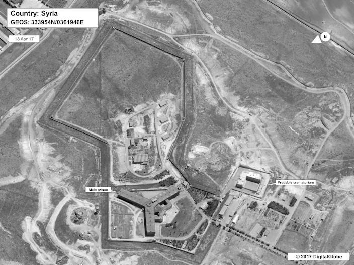"""A handout satellite image dated April 18, 2017 courtesy of DigitalGlobe and released May 15, 2017 by the US Department of State shows the Saydnaya prison, which Amnesty International has described as a """"human slaughterhouse"""" (AFP Photo/DIGITALGLOBE)"""