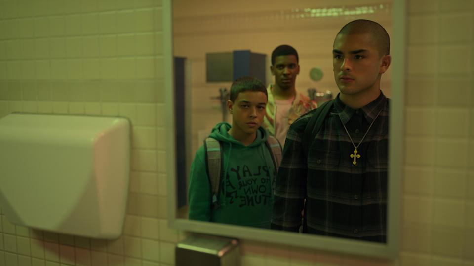 ON MY BLOCK (L to R) JASON GENAO as RUBY MARTINEZ, BRETT GRAY as JAMAL TURNER, and DIEGO TINOCO as CESAR DIAZ in episode 401 of ON MY BLOCK Cr. COURTESY OF NETFLIX © 2021
