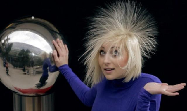 Girl experiencing static electricity