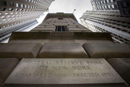 FILE PHOTO: The corner stone of the New York Federal Reserve Bank is seen  in New York