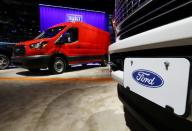 FILE PHOTO: Ford trucks displayed at the North American International Auto Show in Detroit, Michigan