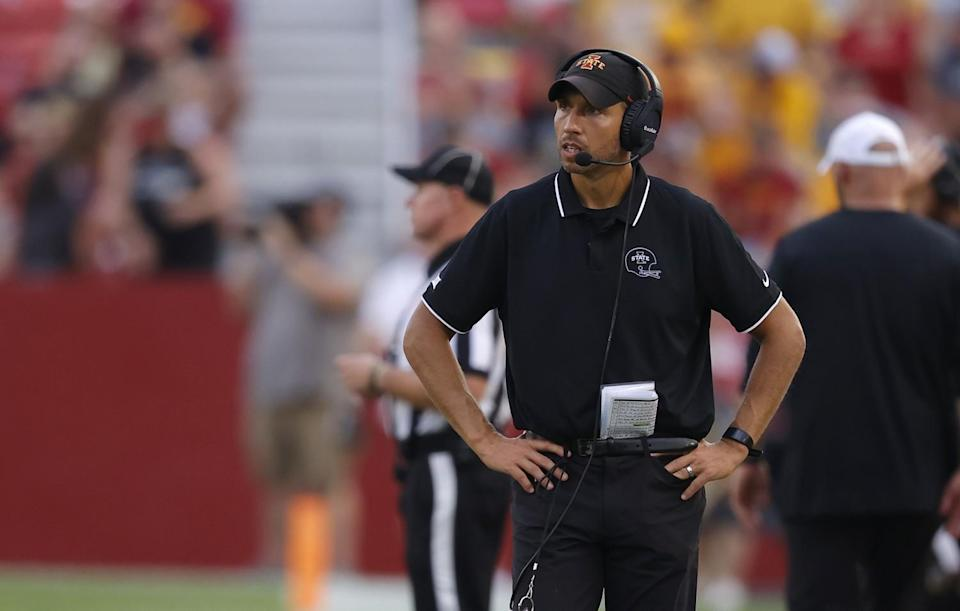 Iowa State coach Matt Campbell walks on the sideline during a game against Iowa on Saturday