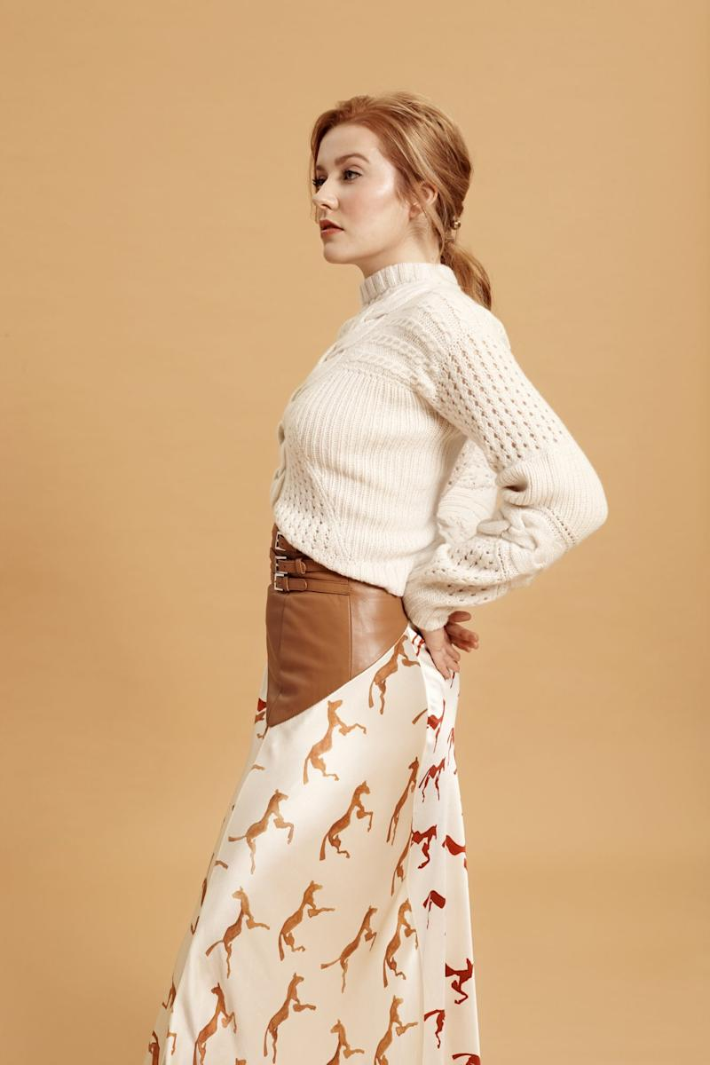 Sweater and skirt, Alejandra Alonso Rojas. Photo by Emma Anderson/InStyle.com.