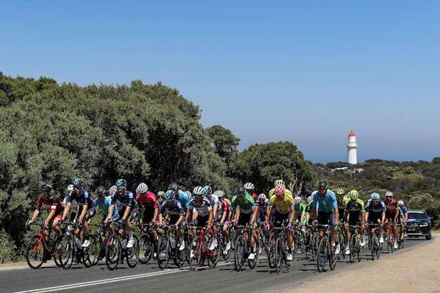 The riders head off from the start of stage 4 of the 2019 Herald Sun Tour at Cape Schanck on the Mornington Peninsula
