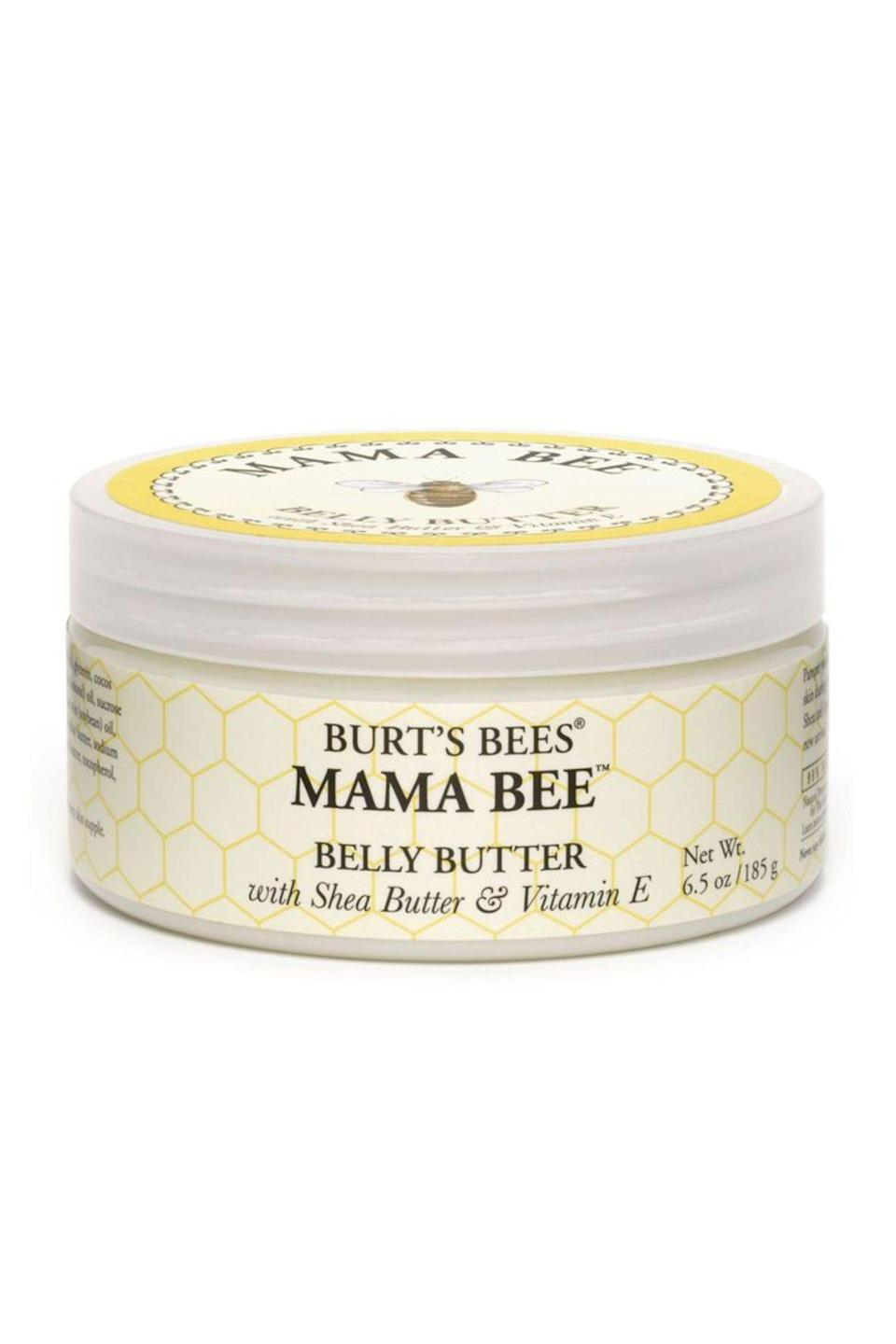 """<p><strong>Burt's Bees</strong></p><p>amazon.com</p><p><a href=""""https://www.amazon.com/Burts-Bees-Butter-Butter-Vitamin/dp/B00DM14TYC/?tag=syn-yahoo-20&ascsubtag=%5Bartid%7C10049.g.23323942%5Bsrc%7Cyahoo-us"""" rel=""""nofollow noopener"""" target=""""_blank"""" data-ylk=""""slk:Shop Now"""" class=""""link rapid-noclick-resp"""">Shop Now</a></p><p>If you're a sucker for a good product testimonial, you'll want to make this fragrance-free belly butter with <strong>an overall 4.2 star rating on Ulta </strong>your next purchase. A blend of butters (shea and cocoa) with a mix of oils (<a href=""""https://www.cosmopolitan.com/style-beauty/beauty/a27305882/coconut-oil-benefits-skin/"""" rel=""""nofollow noopener"""" target=""""_blank"""" data-ylk=""""slk:coconut"""" class=""""link rapid-noclick-resp"""">coconut</a>, sunflower, sweet almond, <a href=""""https://www.cosmopolitan.com/style-beauty/beauty/a34221629/jojoba-oil-for-hair/"""" rel=""""nofollow noopener"""" target=""""_blank"""" data-ylk=""""slk:jojoba"""" class=""""link rapid-noclick-resp"""">jojoba</a>, and soybean) and vitamin E all combine moisturizing forces to leave the skin feeling insanely hydrated.</p>"""