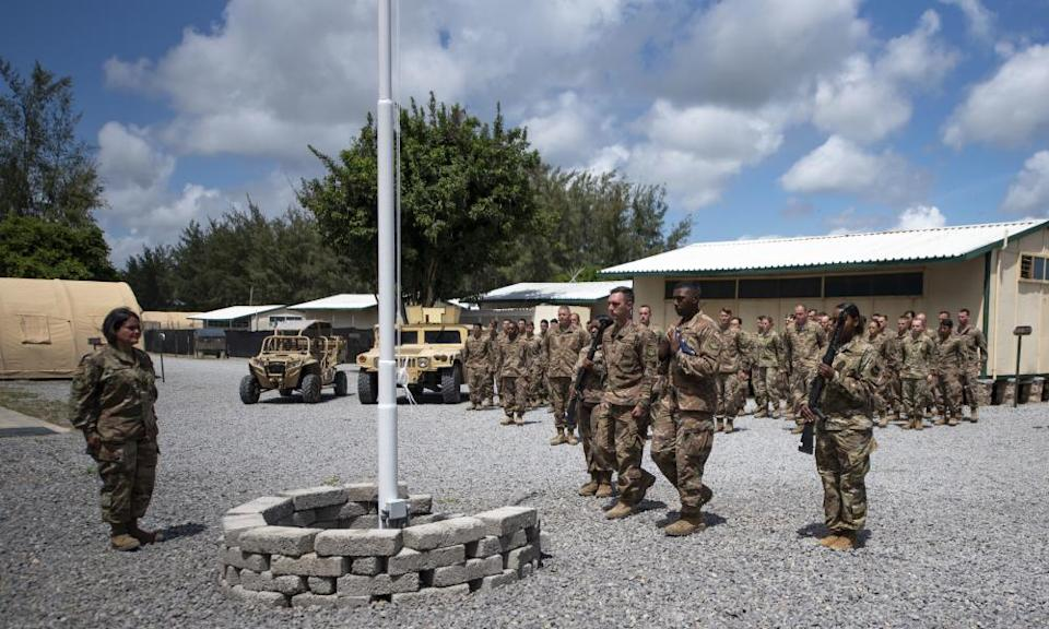 US service personnel at Camp Simba in Kenya in 2019. The base was attacked by al-Shabaab in January this year, killing a US soldier and two American contractors.