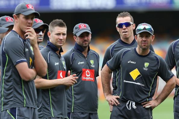 BRISBANE, AUSTRALIA - NOVEMBER 07:  (L-R) Josh Hazlewood, Mike Hussey, Michael Clarke, Ed Cowan, Peter Siddle and Ricky Ponting look on during an Australian training session at The Gabba on November 7, 2012 in Brisbane, Australia.  (Photo by Chris Hyde/Getty Images)