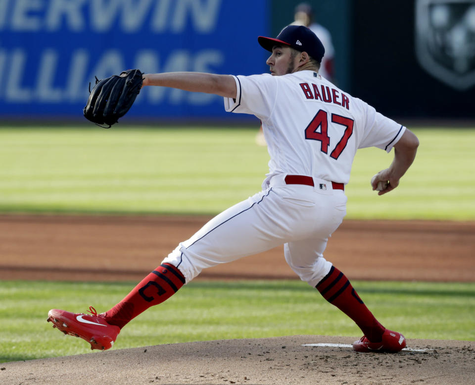Trevor Bauer and members of the Houston Astros were involved in a Twitter spat Tuesday over spin rate. (AP)