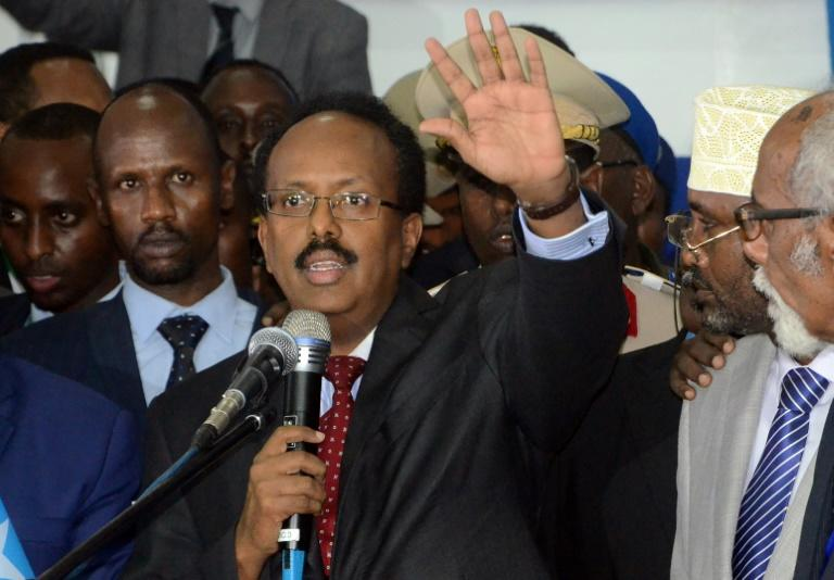 Newly elected President of Somalia and former Prime Minister Mohamed Abdullahi, better known by his nickname Farmajo, delivers an address in Mogadishu, on February 8, 2017