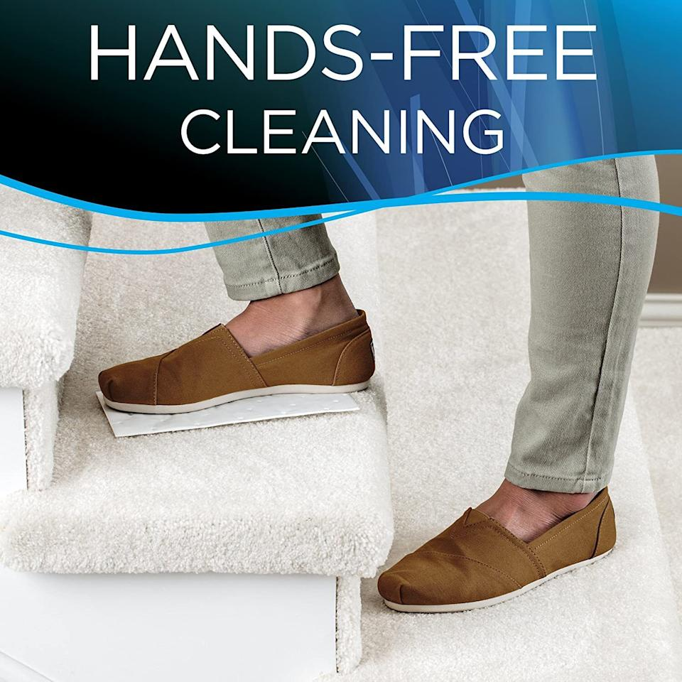 """Clean up pet accidents, blood, wine, mud, soda -- you name it -- instead of smushing it into the carpet even more with a paper towel. Just stomp on the pad to activate its cleaning powers; let it sit and remove it hours later to a stain-free and fresh-smelling carpet.<br /><br /><strong>Promising review:</strong>""""<strong>WOW were we impressed!</strong>On two occasions over the last three months, our sweet dog ate grass outside and then proceeded to vomit in two different locations on relatively new carpet. We cleaned the best we could but two dark round spots remained. We tried the standard carpet sprays to no avail (actually seemed to make them worst). The spots were embarrassing to see, but decided to wait until holiday traffic was over before scheduling full carpet clean.<strong>As soon as these arrived, we put them on spots (yes, I know you are supposed to test), stomped on them and set the timer. Lifted the pads in 30 minutes and the whole stains had transferred to the pads, carpet looked clean as can be.</strong>Highly recommend for any dog owner with a dog who isn't trained to vomit outside."""" --<a href=""""https://amzn.to/33jofQX"""" target=""""_blank"""" rel=""""noopener noreferrer"""">Eileen Marie</a><br /><br /><strong>Get a pack of 20 from Amazon for <a href=""""https://amzn.to/3tqtwRp"""" target=""""_blank"""" rel=""""noopener noreferrer"""">$24.99</a>.</strong><a href=""""https://img.buzzfeed.com/buzzfeed-static/static/2019-10/25/16/asset/4b7cf29357e8/sub-buzz-710-1572021270-1.jpg"""" data-skimlinks-tracking=""""5821148""""></a>"""