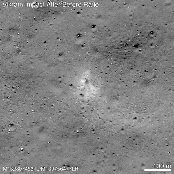 NASA released an image taken by its Lunar Reconnaissance Orbiter that showed the site where India's Vikram lander crashed on the lunar surface in September 2019