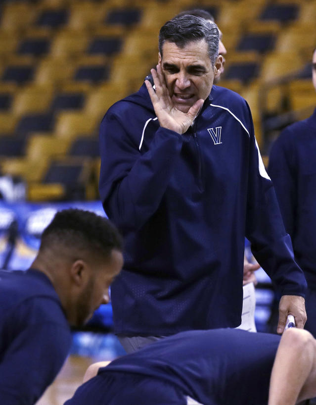 Villanova head coach Jay Wright calls to his players during practice at the NCAA men's college basketball tournament in Boston, Thursday, March 22, 2018. Villanova faces West Virginia in a regional semifinal on Friday night. (AP Photo/Charles Krupa)