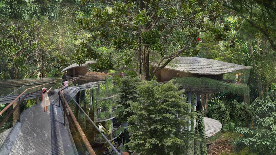 Architectural illustration of an elevated walkway at the resort. (PHOTO: Mandai Park Holdings)