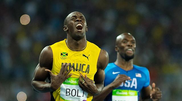 <p>Usain Bolt is victorious after winning the Men's 100M Final at the Olympic Stadium in Rio de Janeiro, Brazil.</p>