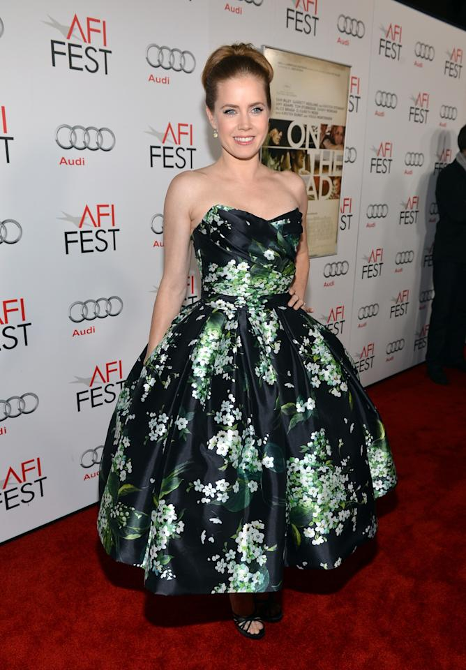 "HOLLYWOOD, CA - NOVEMBER 03: Actress Amy Adams arrives at the ""On The Road"" premiere during the 2012 AFI Fest presented by Audi at Grauman's Chinese Theatre on November 3, 2012 in Hollywood, California.  (Photo by Alberto E. Rodriguez/Getty Images for AFI)"