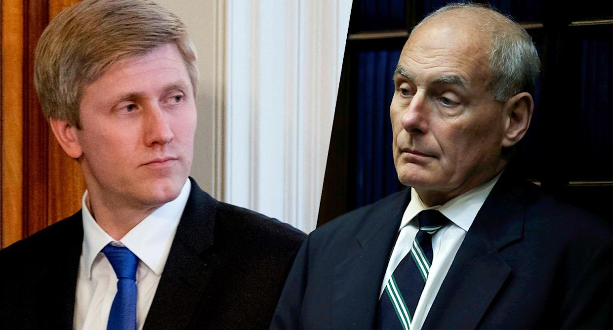 Vice President Mike Pence's chief of staff, Nick Ayers, and White House chief of staff John Kelly. (Photos: Andrew Harnik/AP, Leah Millis/Reuters)