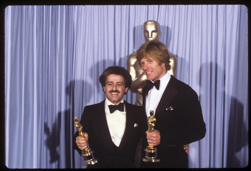 Producer Ronald L. Schwary and Robert Redford with Best Picture and Best Director Oscars for 'Ordinary People'. (Photo by Walt Disney Television via Getty Images Photo Archives/Walt Disney Television via Getty Images)