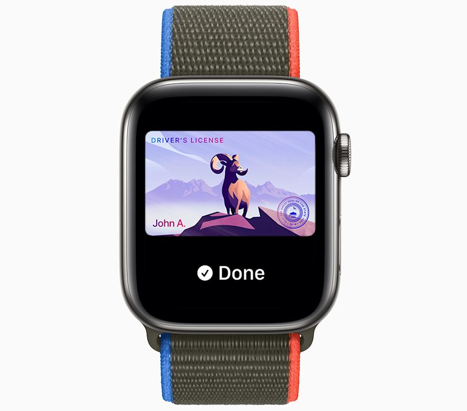 You'll soon be able to put your driver's license on your Apple Watch. (Image: Apple)