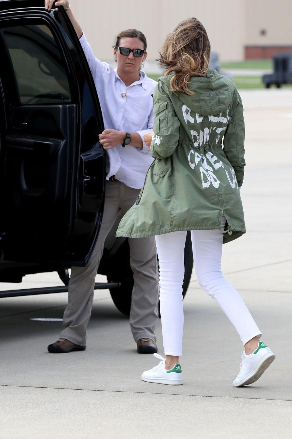 "<p>It's safe to say this is probably the most talked-about first lady fashion moment of all time. Melania Trump wore this Zara jacket which read, ""I REALLY DON'T CARE, DO U?,"" when visiting separated families at the U.S. Mexico border in June 2018. Some people thought it was a terrible fashion mistake, but President Trump confirmed on <a href=""https://twitter.com/realDonaldTrump/status/1009916650622251009"" rel=""nofollow noopener"" target=""_blank"" data-ylk=""slk:Twitter"" class=""link rapid-noclick-resp"">Twitter</a> that it was worn on purpose.</p>"