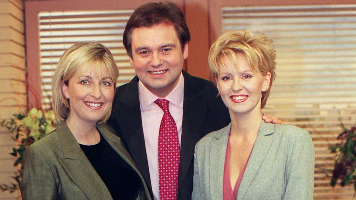 GMTV presenter Eamonn Holmes with Esther McVey (R), who is joining the breakfast station when Fiona Phillips (L) takes maternity leave. Fiona, who is married to GMTV's chief correspondent, Martin Frizell, is expecting her first child in May.  *  and will leave the station on April 9.   (Photo by Tony Harris - PA Images/PA Images via Getty Images)
