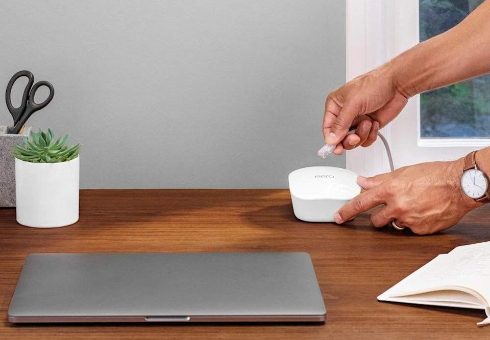 Get an eero mesh router two-pack and a free Echo Flex for just $169. (Photo: eero)