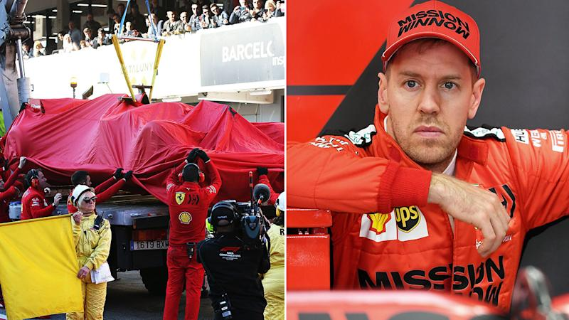 Pictured here, Sebastian Vettel looks on in concern after his Ferrari broke down in testing.