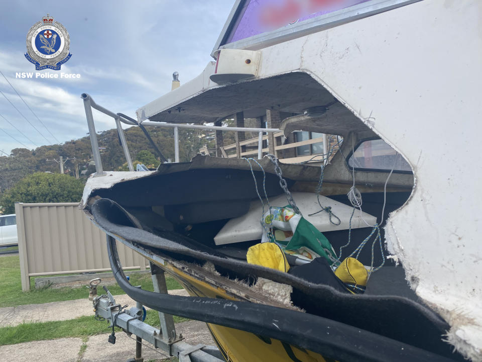 The crushed boat  after hit by a whale near Narooma.