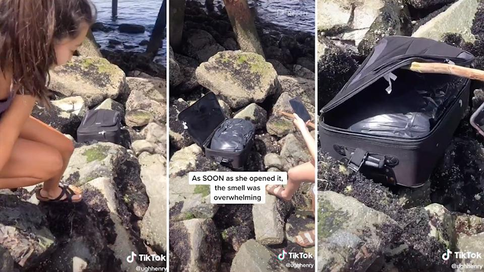 A group of teenagers found a suitcase on a beach in West Seattle, which police confirmed contained human remains. Source: TikTok/ughhenry