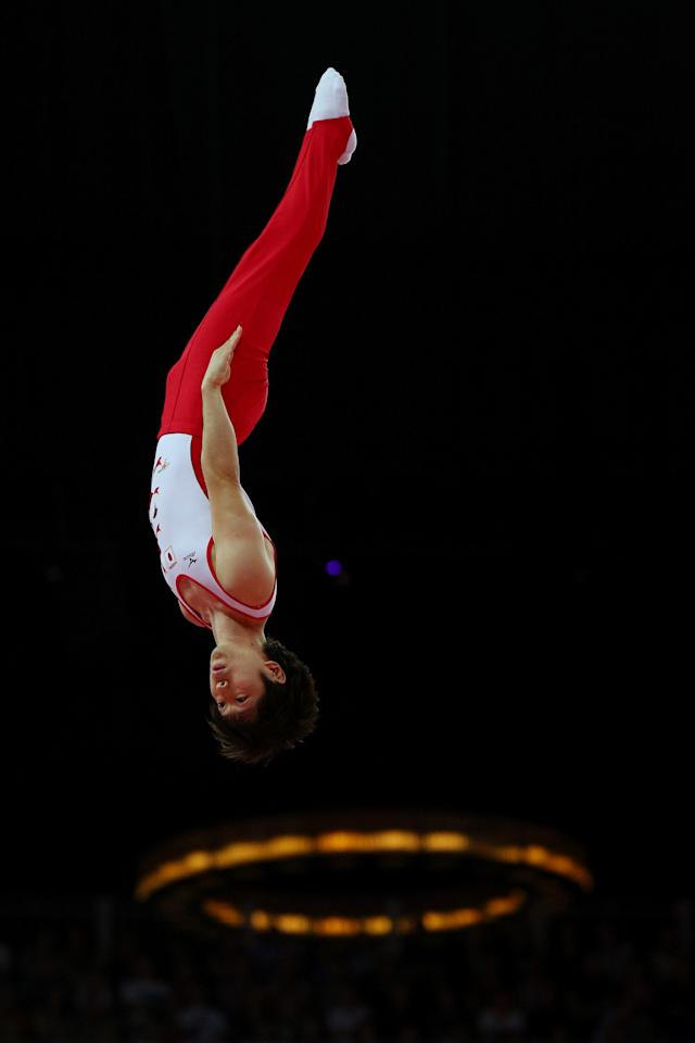 LONDON, ENGLAND - AUGUST 03: Massaki Ito of Japan competes on the Men's Trampoline during Day 7 of the London 2012 Olympic Games at North Greenwich Arena on August 3, 2012 in London, England. (Photo by Cameron Spencer/Getty Images)