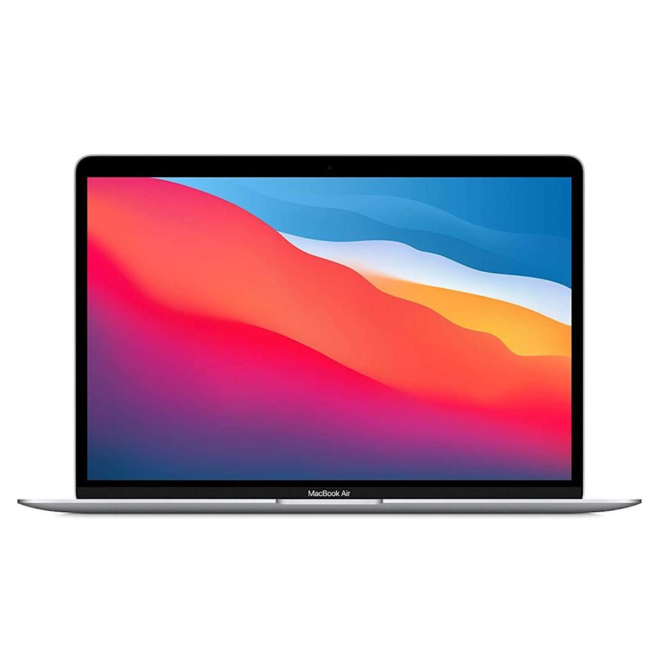 "<p><strong>Apple</strong></p><p>amazon.com</p><p><strong>$949.99</strong></p><p><a href=""https://www.amazon.com/dp/B08N5KWB9H?tag=syn-yahoo-20&ascsubtag=%5Bartid%7C2089.g.293%5Bsrc%7Cyahoo-us"" rel=""nofollow noopener"" target=""_blank"" data-ylk=""slk:Shop Now"" class=""link rapid-noclick-resp"">Shop Now</a></p><p>The updated MacBook Air makes for an excellent tech gift for anyone in need of a new laptop. It has iconic design and with vastly improved hardware specs, headlined by <a href=""https://www.bestproducts.com/tech/a34631928/one-more-thing-apple-event-november-2020/"" rel=""nofollow noopener"" target=""_blank"" data-ylk=""slk:Apple's groundbreaking M1 chip"" class=""link rapid-noclick-resp"">Apple's groundbreaking M1 chip</a>. The latter makes the notebook powerful and energy-efficient in equal measure. </p><p>We like that the notebook is <a href=""https://www.apple.com/environment/"" rel=""nofollow noopener"" target=""_blank"" data-ylk=""slk:crafted from 100% recycled aluminum"" class=""link rapid-noclick-resp"">crafted from 100% recycled aluminum</a>. There are three colors to pick from: silver, space gray, and gold.</p><p><strong>More: </strong><a href=""https://www.bestproducts.com/tech/gadgets/a31954155/apple-macbook-air-review-2020/"" rel=""nofollow noopener"" target=""_blank"" data-ylk=""slk:Our Review of the 2020 MacBook Air"" class=""link rapid-noclick-resp"">Our Review of the 2020 MacBook Air</a></p>"