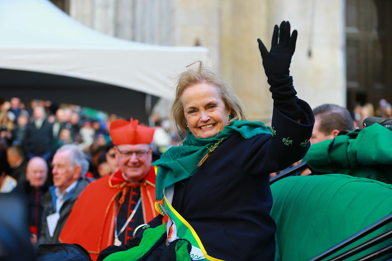 <p>Grand Marshal Loretta Brennan Glucksman stops in front of St. Patrick's Cathedral during the St. Patrick's Day Parade, March 17, 2018, in New York. (Photo: Gordon Donovan/Yahoo News) </p>
