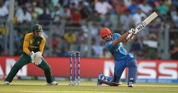 MUMBAI, INDIA - MARCH 20: Gulbadin Naib of Afghanistan bats during the ICC World Twenty20 India 2016 Super 10s Group 1 match between South Africa and Afghanistan at Wankhede Stadium on March 20, 2016 in Mumbai, India. (Photo by Gareth Copley/Getty Images,)