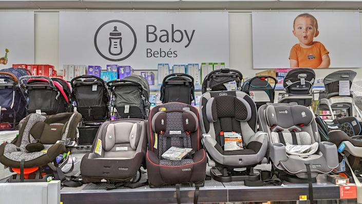 Walmart retail store baby products section, safety portable car seats, Lynn Massachusetts USA, December 20, 2019.