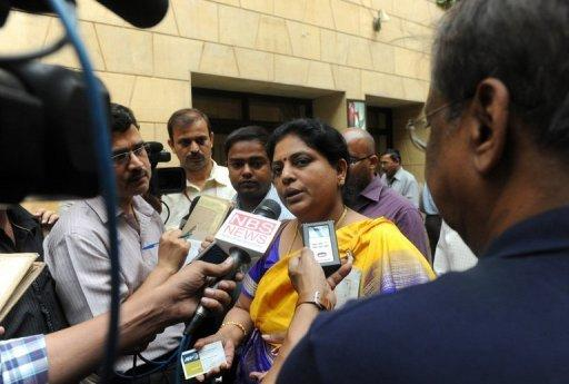 "Tessy Thomas, project director for the Agni V long-range nuclear-capable missile project, talks to the media in New Delhi on April 20. Celebrated as ""Missile Woman"" in the local media, Thomas has lent a new and unusual face to the secretive world of India's Defence Research and Development Organisation"