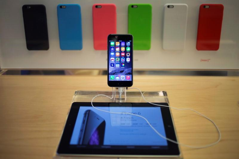An iPhone 6 phone is seen on display at the Fifth Avenue Apple store on the first day of sales in Manhattan, New York