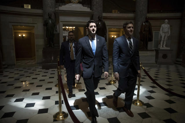 <p>House Speaker Paul Ryan of Wisconsin walks to the House chamber on Capitol Hill in Washington, May 4, 2017. The Republican health care bill, a top-flight priority the party nearly left for dead six weeks ago, was passed narrowly in the House later in the day. (Photo: Andrew Harnik/AP) </p>